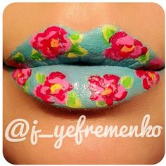LC lipstick + eyeliners = cool floral #lipart!  By @j_yefremenko