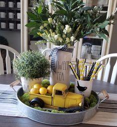 Lemon Kitchen Decor, Farmhouse Kitchen Decor, Kitchen Redo, Kitchen Design, Vintage Decor, Rustic Decor, Tray Decor, Seasonal Decor, Table Decorations