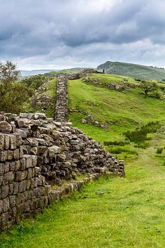 Hadrians Wall, Northumberland, England began being built in AD 122 and most of it still remains..... it separated the English from the Scots
