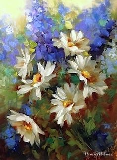 Daisy Dance With Delphiniums by Nancy Medina, painting by artist Nancy Medina