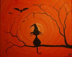 The Witches Hat -  8 x 10, acrylic on canvas, ready to hang, ORIGINAL by Michael H. Prosper. , via Etsy.