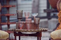 vintage pink multi-colored goblets.. photo: mint-2-be.. Mintage Rentals provides modern + vintage rentals for staging and special events.
