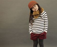 Why are kids clothes so darn cute.  I would totally wear this outfit!  Striped shirt, corduroy shorts, tights, scarf & hat.