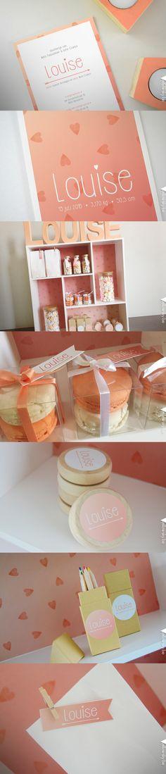 Geboortekaartje en bijhorende doopsuikers voor lieve Louise! Designed by Yellow Sky #hartje #roze #geboorte