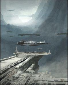 We have the futuristic sci-fi themed creations of Daniel Graffenberger, a digital illustrator and concept artist based in Berlin. Cyberpunk City, Futuristic City, Sci Fi Environment, Environment Design, Matte Painting, Sci Fi Fantasy, Fantasy World, Sci Fi City, Sci Fi Spaceships