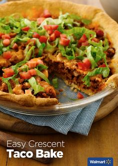 Easy Crescent Taco Bake | Walmart – Start with a layer of Pillsbury refrigerated crescent dinner rolls, add meat and your favorite toppings, bake and you're done! This easy, 20-minute recipe will be a new staple for dinner.