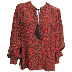 1970s Yves Saint Laurent YSL Silk Boho Blouse  | From a collection of rare vintage blouses at https://www.1stdibs.com/fashion/clothing/blouses/