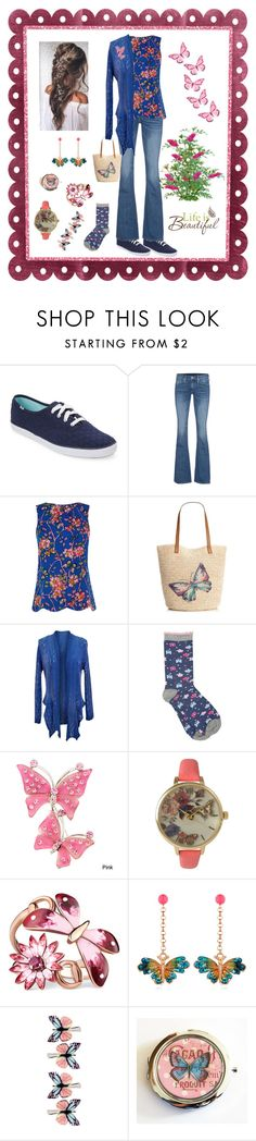 """""""Elegant & Casual filled with Butterfly Comfort."""" by pinky-dee ❤ liked on Polyvore featuring Keds, True Religion, Oasis, Style & Co., jon & anna, M&Co, Olivia Pratt, Gucci, Vernissage and Accessorize"""