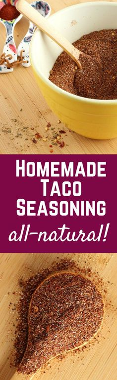 Large Batch Homemade Taco Seasoning - no MSG or additives - ALL NATURAL! Get the easy recipe on RachelCooks.com - you probably already have all the ingredients!