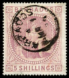 1873 rose, FU, small red mark on face, better than average for this stamp. Windward Islands, Caribbean Sea, King George, Commonwealth, Barbados, Central America, Postage Stamps, Great Britain, Vintage World Maps