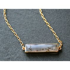 Mint Jules 24k Gold Overlay Speckled Agate Horizontal Bar Necklace