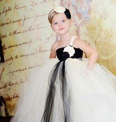 Black & White Flower Girl Dress