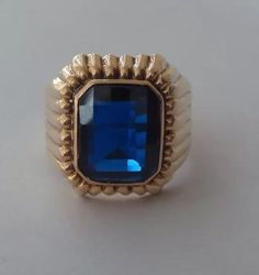 18K Solid Gold Sapphire Signet Ring Best Price Final Discount | eBay