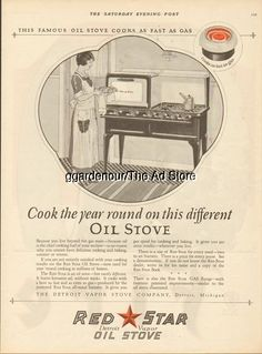 1924 Detroit Vapor Stove Co. Michigan Red Star Vintage Oil Cook Kitchen Decor Ad