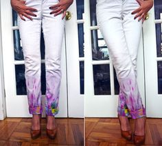 Watercolour Painted Jeans | All The Good Girls Go To Heaven In the stores at the moment its all pastels, lace and neon - and these jeans would go perfectly with any of those fashion trends at the moment! While the jeans are wet, you just use the fabric dyes like you would with a normal watercolour. If youre not keen on multi-colours, you could just use one colour in different strengths.