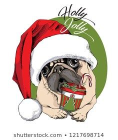 Adorable beige puppy Pug in a red cap and with a Christmas gingerbread. Cookies for Santa - lettering quote. New Year card, t-shirt composition, handmade vector illustration. Pug Cartoon, Love You Gif, Baby Pugs, Pug Art, Colouring Pics, New Year Card, Pug Love, Animal Design, Cute Baby Animals
