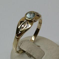 Vintage Ringe - Alter Goldring 333 Aquamarin Diamantsplitter GR189 - ein Designerstück von Atelier-Regina bei DaWanda