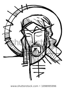 Hand drawn illustration or drawing of Jesus Christ Face at his Passion Jesus Drawings, Art Drawings, Croix Christ, Jagua Henna, Jesus Art, Jesus Christ Drawing, Jesus Tattoo, Jesus Painting, Bible Illustrations