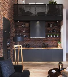 Loft bricks & black kitchen
