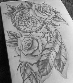 rose with dream catchers tattoos Tattoo Sketches, Tattoo Drawings, Body Art Tattoos, New Tattoos, Tatoos, Sketch Drawing, Dream Catcher Drawing, Dream Catcher Tattoo Design, Dream Catchers