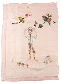 'Spring in sight,' Print, hand-embroidery and mending on linen and cotton by Kristine Fornes.