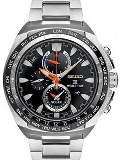 Seiko Prospex Solar World Time Chronograph Power Reserve Gents' Watch Omega Seamaster 300, Seamaster Watch, Stylish Watches, Cool Watches, Seiko Solar, Seamaster Aqua Terra, Swiss Luxury Watches, Online Watch Store, Vintage Watches For Men