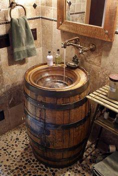 10 Awesome DIY Rustic Bathroom plans you might build for your bathroom decor Barrel Sink Bathroom Rustic Bathroom Decor, Barrel Sink, Top Bathroom Design, Rustic Bathroom Remodel, Vintage Bathrooms, Bathroom Decor, Bathroom Makeover, Vintage Farmhouse Sink, Bathroom