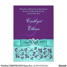 "Wedding | PRINTED BOW Aqua, Purple | Floral 5"" X 7"" Invitation Card"