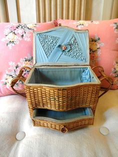 Treasury item Antique FRENCH rattan SEWING BOX by villavillacolle, $203.00