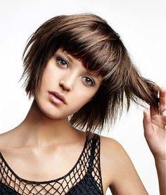 short hair, brown