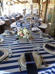 Navy and White Stripe Tablecloth. www.tableclothhiring.co.za