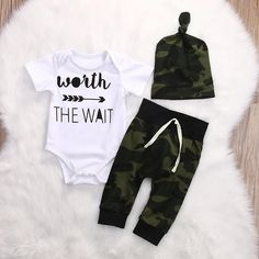 Camo Worth The Wait/ Hipster Baby /Modern Baby / Baby Boys Coming Home Outfit / Newborn Boy / Baby Boy Stuff / Newborn Photo Prop / Newborn Boy Camo Worth The Wait TruFood Solutions Baby Register Camo Worth The Wait/ Hip Baby Set, Cute Newborn Baby Boy, Baby Girls, Child Baby, Toddler Girl, Baby Boy Clothing Sets, Cute Baby Clothes, Infant Clothing, Guy Clothes