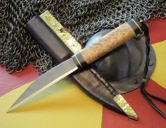 Viking Seax knife of Masur Birch and horn by HammerandHand on Etsy