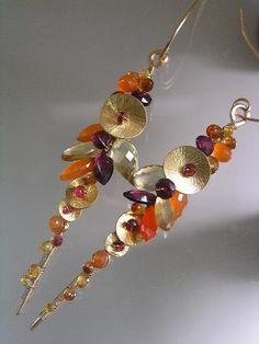 Fire Chaser...Rhodolite Garnet Carnelian Citrine Sapphire Encrusted Signature Original Gold Filled Long Stem Earrings