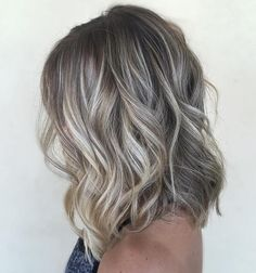 Long Bob with Platinum Blonde Balayage