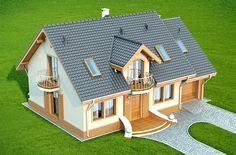 This four bedroom classic house design is an interesting proposition for people with medium-wide plot. The house has a typical shape, which greatly facilitates the construction process. Village House Design, Village Houses, My House Plans, Small House Plans, Patio Grande, House Construction Plan, Classic House Design, Beautiful House Plans, Storey Homes