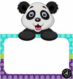 Oso panda Page Borders, Borders And Frames, Panda Decorations, Blank Sign, School Frame, School Labels, Cute Frames, Cute Clipart, Holidays And Events