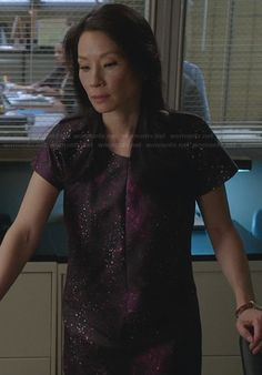 Joan's purple galaxy dress on Elementary.  Outfit Details: http://wornontv.net/28120/ #Elementary Ophelia Dress by Club Monaco