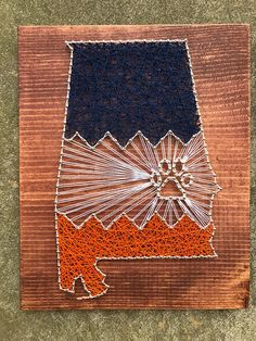 Auburn university state string art auburn university decorYou can find Auburn university and more on our website. Auburn Alabama, Auburn Football, Auburn Tigers, College Football, Auburn University, Football Nail Art, Eagle Art, Dark Walnut Stain, String Art