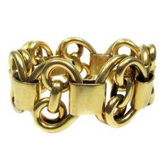 Retro Gold Bracelet | From a unique collection of vintage more bracelets at https://www.1stdibs.com/jewelry/bracelets/more-bracelets/