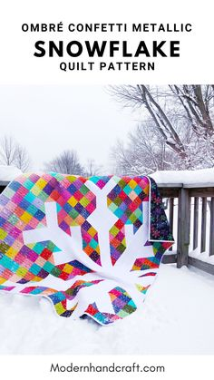 Colorful Winter Quilt - Snowflake Quilt Pattern by Modern Handcraft featuring Ombre Confetti Metallic by V and Co for Moda Fabrics. Christmas Quilt Patterns, Star Quilt Patterns, Christmas Sewing, Star Quilts, Quilting Ideas, Quilt Blocks, Amish Quilts, Scrappy Quilts, Hand Quilting