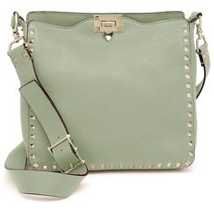 Valentino Rockstud Utilitarian Small Leather Crossbody Bag (20 155 SEK) ❤ liked on Polyvore featuring bags, handbags, shoulder bags, apparel & accessories, leather shoulder handbags, green leather purse, green shoulder bag, leather crossbody and leather cross body handbags
