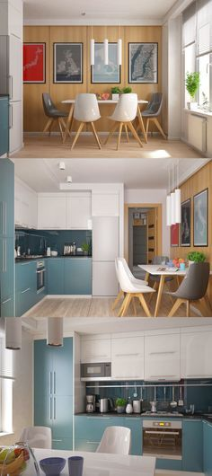 Sleek blue and white kitchen with dining space. I also like the typographical map prints // Дизайн квартиры в Ровно. - Галерея 3ddd.ru