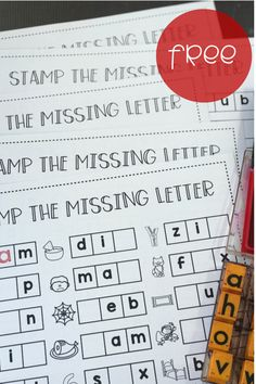 STAMP THE MISSING LETTER  Students can stamp the missing letter with these free CVC word worksheets! Stamp the beginning, middle, or ending sound on each of five FREE printable worksheets! Great way to build phonics and spelling skills! #CVC words #kindergarten