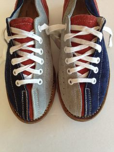 Vintage Bowling Shoes / Navy Blue / Cranberry Red by VintageByBeth  5.5