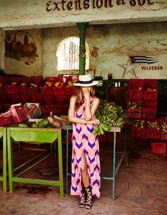 Clothing via Mister Zimi Jewelry by Luv AJ Hat by Gladys Tamez Millinery Black gladiator sandals by Schutz Shoes Tan heels via ZARA Photos shot in Old Havana, Cuba by Nick…