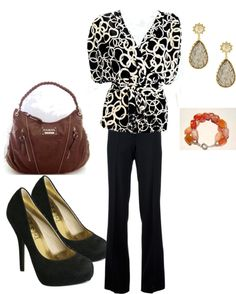 """Black White Circle Print Wrap Top: Business Chic"" by ladiesfashionsense on Polyvore"