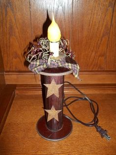 Primitive Decor - Wooden Spool Electric Candle with Silicone Flame Candle