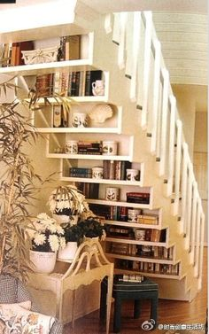 Great use of under stair area - bookshelves!