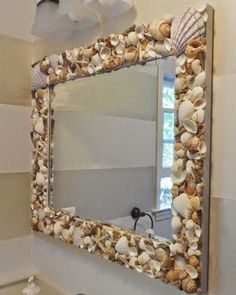 Impressive Tips Can Change Your Life: Natural Home Decor Ideas To Get natural home decor rustic decoration.Natural Home Decor Inspiration Coffee Tables natural home decor inspiration woods.Natural Home Decor Ideas To Get. Seashell Projects, Seashell Crafts, Beach Crafts, Seashell Decorations, Mirror Decorations, Seashell Bathroom Decor, Bathroom Beach, Small Bathroom, Bathroom Ideas